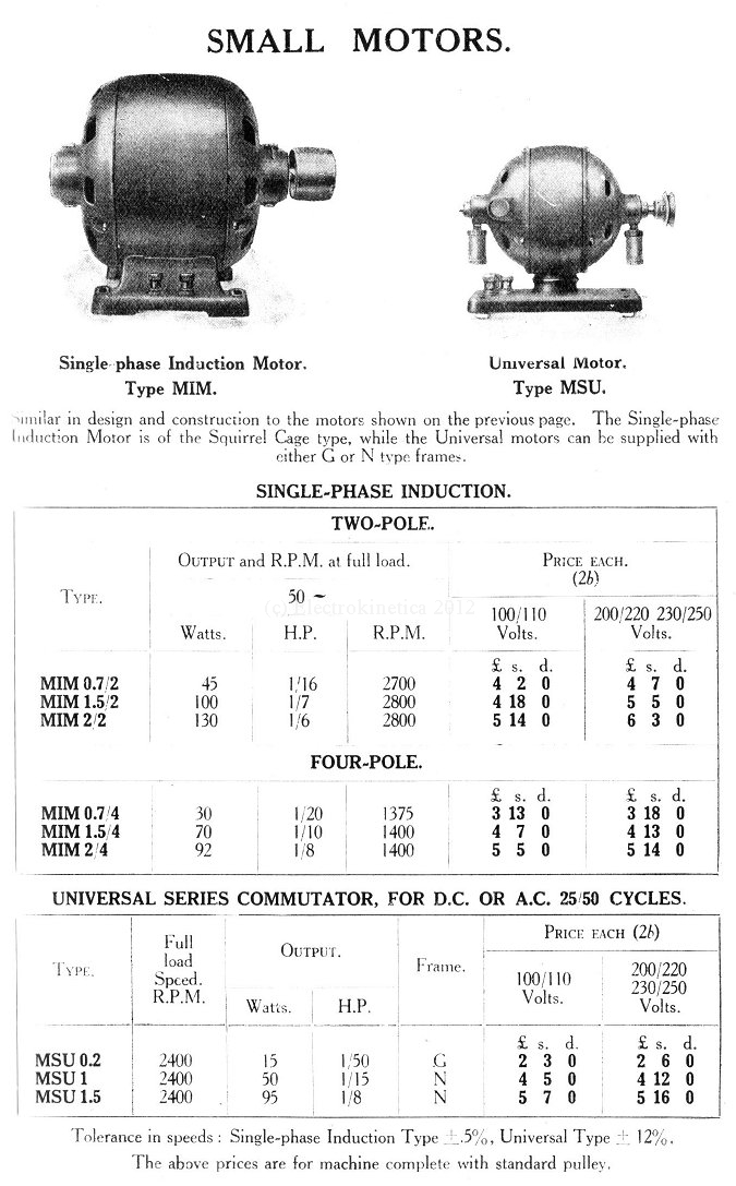 Identical motor in catalogue
